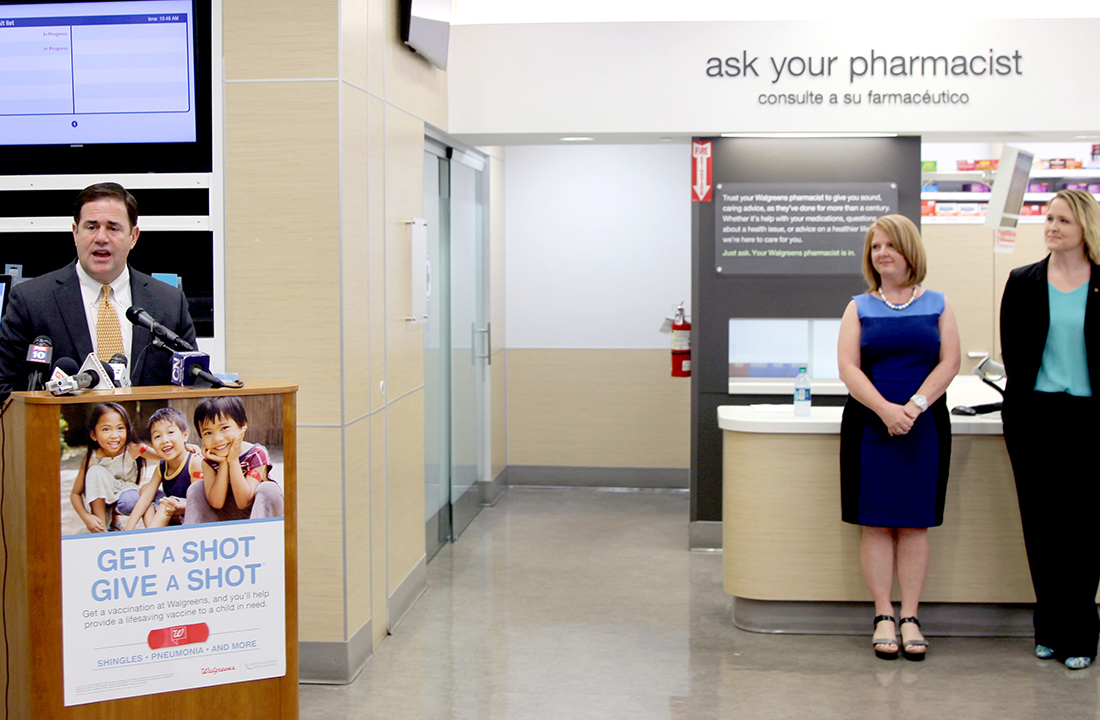 Arizona Gov. Doug Ducey (left) announces an initiative with State Rep. Heather Carter (middle) and Walgreens Director of Pharamcy and Retail Operations Erin Sharp (right). The pharmacy chain is rolling out prescription drug drop-off kiosks at 18 of its locations throughout the state. (Photo by Joshua Bowling/Cronkite News)