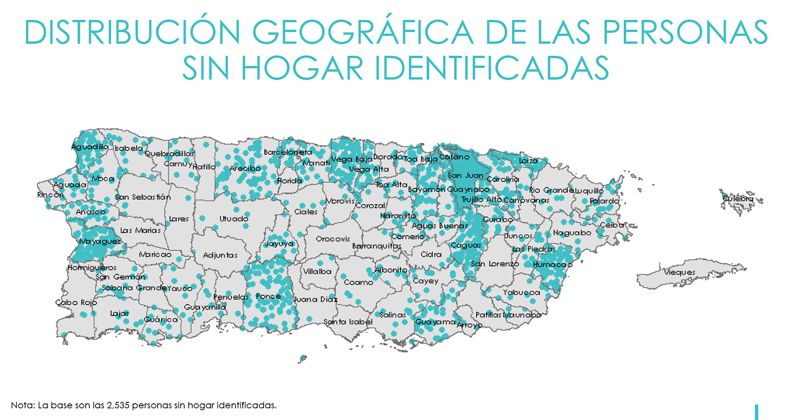 Geographic distribution of homeless in Puerto Rico