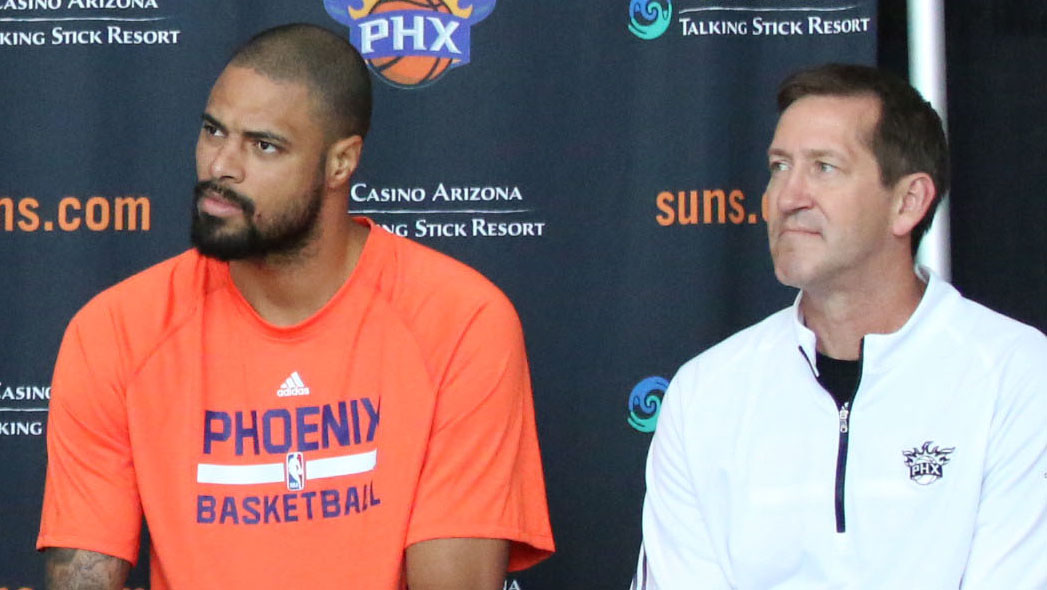 The Suns signed Tyson Chandler (left) in the offseason to bolster their frontline. However, the team struggled to a 14-35 record and and the Suns fired coach Jeff Hornacek (right ) Monday. (File photo by Cody Fincher/Cronkite News)