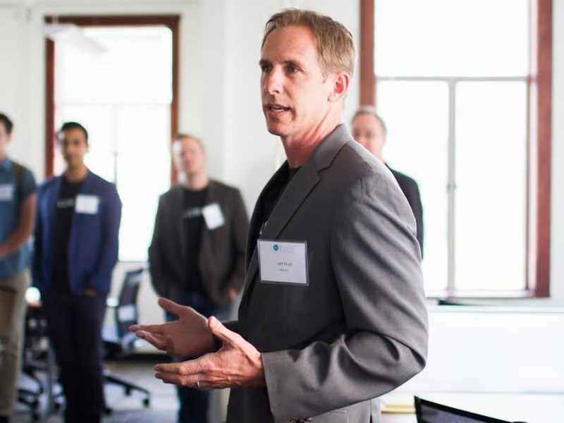 Jeffrey Pruitt, CEO of Tallwave, announced the five startup companies selected for its High Tide training program on April 8. Photo Courtesy of Tallwave