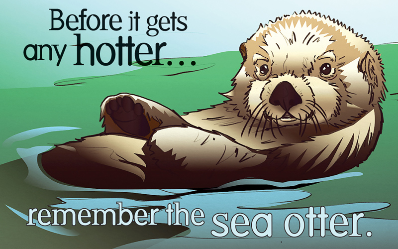 Sea otter condom label