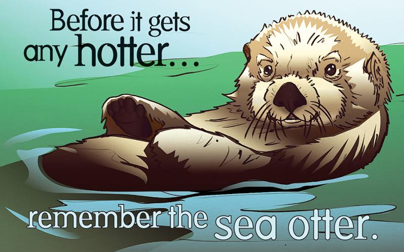 Sea otter condom label