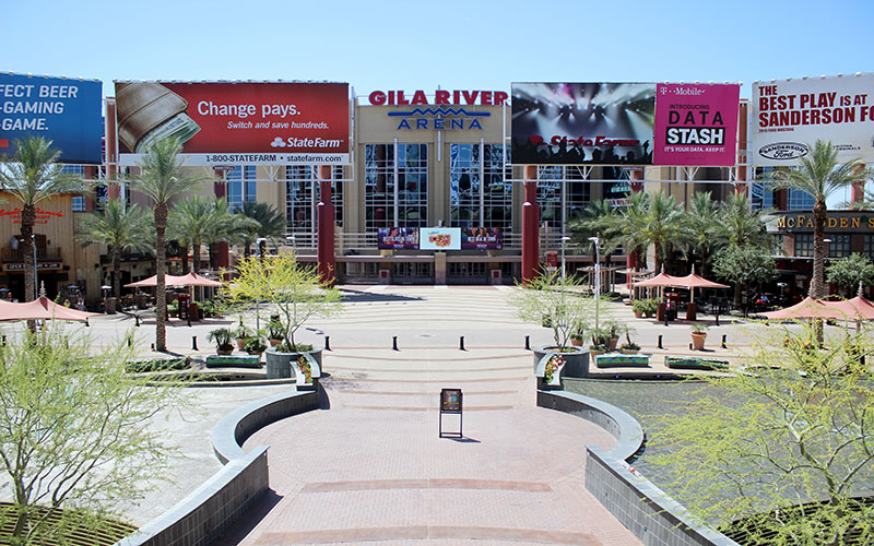 Westgate Entertainment District in Glendale saw a big boost in business with the Super Bowl, but business owners say not having the NFL Experience there hurt their profits. (Photo by Zach Holland)