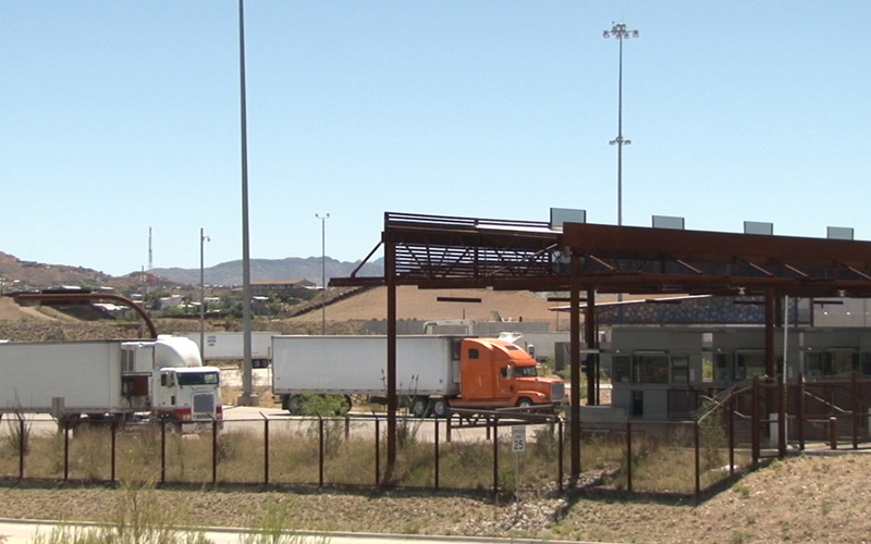 About 300,000 commercial vehicles pass through the Mariposa Port of Entry every year on their way into the United States, and it's one of the busiest ports on the border. (Photo by Maria Hill)