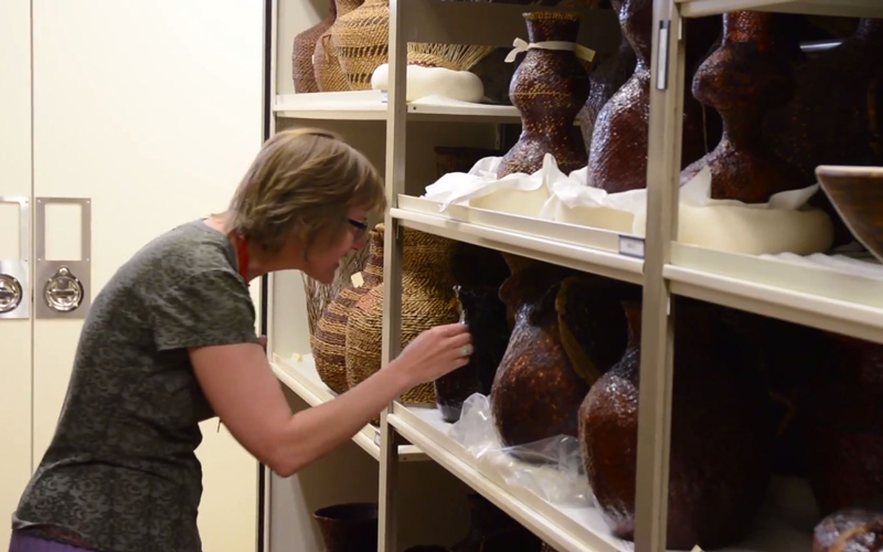 Female looking at artifacts at ASU Museum