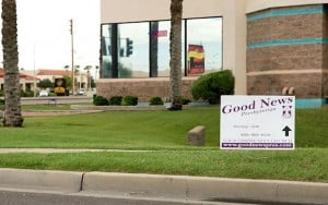 One of the temporary signs that Good News Church regulary puts up around Gilbert to attract worshipers - and which landed the town and the church in the Supreme Court.