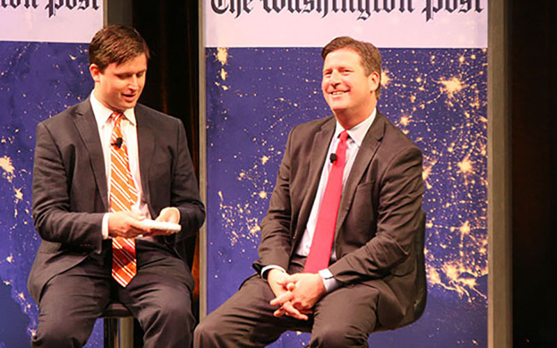 Washington Post reporter James Hohmann interviews Phoenix Mayor Greg Stanton, right, who talked about the city's environmental successes and the need to fight for water rights.