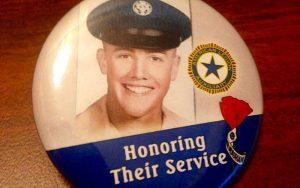 Like other senators at Girls Nation, Arizona teen Kennedy Prock had a button honoring her grandfather, a veteran. (Photo by Nihal Krishan)
