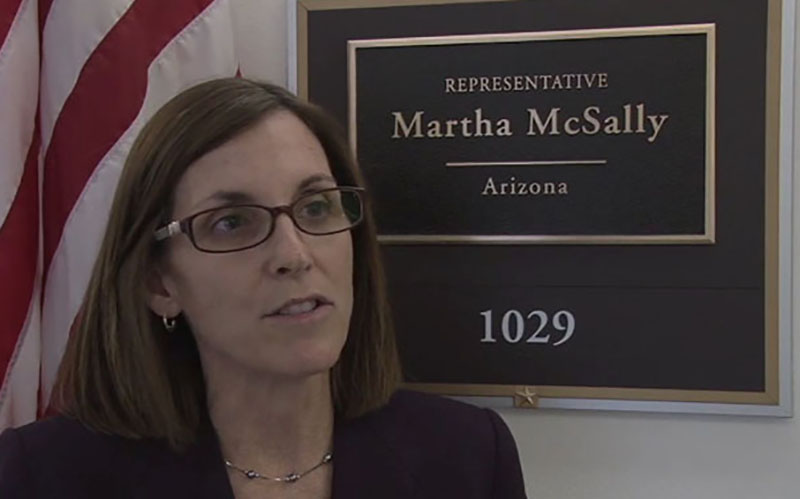 Rep. Martha McSallly, R-Tucson, outside her Capitol Hill office. The freshman lawmaker was elected by a razor-thin margin in 2014, which experts say explains her heavy fundraising in this election cycle. (Photo by Sierra Oshrin)