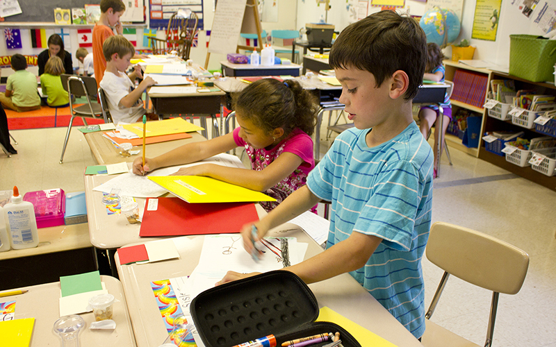 Second-grade students work on a lesson in this file photo. The Education Department granted Arizona's request for flexibility under the No Child Left Behind Act so it could continue moving ahead. (Photo by woodleywonderworks via flickr/Creative Commons)