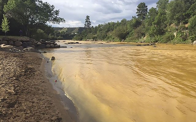 The Animas River runs yellow with toxin-tainted wastewater that was accidentally released from the abanoned Gold King Mine near Durango, Colorado. (Photo by Colorado Parks and Wildlife Department via Reuters)