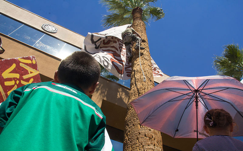 Children watch as Hector Gonzales hoists a banner up a palm tree in front of the Mexican Consulate in downtown Phoenix.