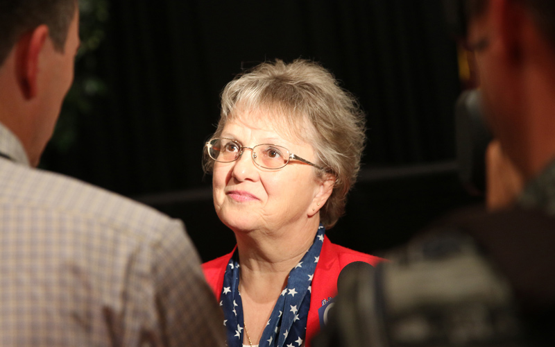 Diane Douglas answers questions in Glendale, Ariz.