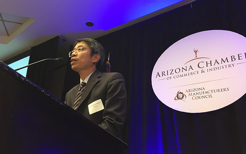 Hong Kong Commissioner to the U.S. Clement Leung speaks to the business community about promoting entrepreneurship for companies in Arizona and Hong Kong.