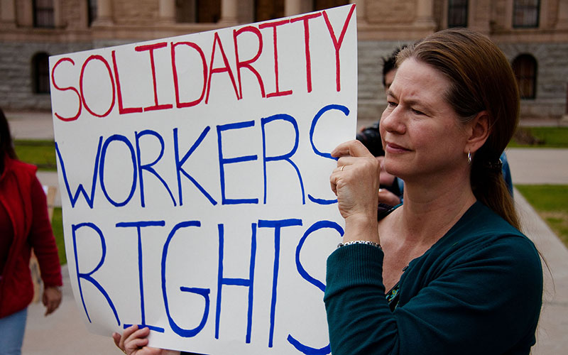 Protesters at a MoveOn.org rally in Phoenix in support of Wisconsin labor unions, in this 2011 file photo. (Photo by Sandior via flickr/Creative Commons)