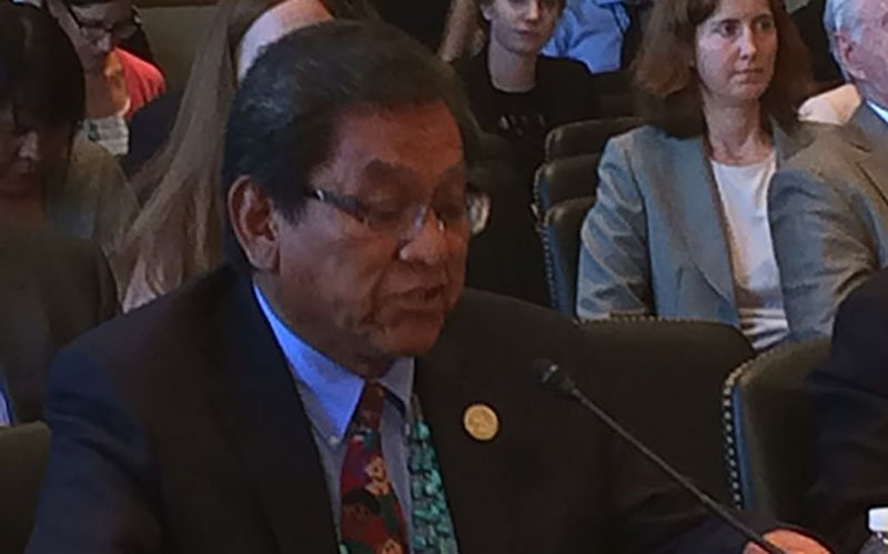 """Navajo Nation President Russell Begaye, left, told a  Senate committee that EPA's reponse to the Animas River spill created a """"culture of distrust"""" with the agency. {Photo by Charles McConnell)"""