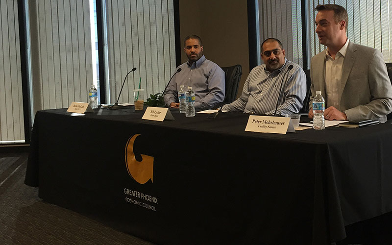 Panelists from three companies expanding to Phoenix spoke about what attracted their businesses to the area at an event held by the Greater Phoenix Economic Council on Thursday. (Photo by Stefan Modrich/Cronkite News)