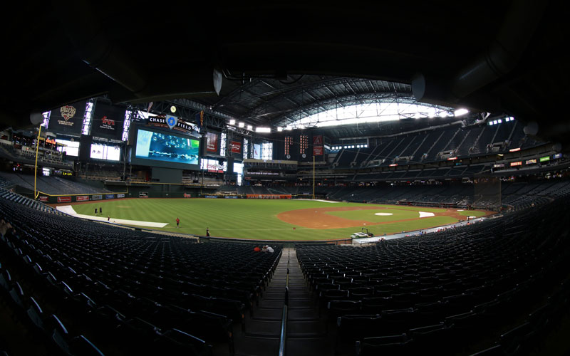 (Taken with a fisheye lens) The interior of Chase Field is pictured Sunday Aug. 30, 2015 in Phoenix, Arizona. Chase Field is home of the Arizona Diamondbacks. (Photo by Jacob Stanek)