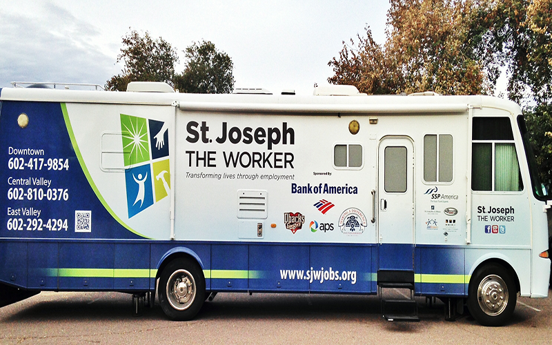 "St. Joseph the Worker entered ""Fast Pitch"" competition to help launch the organization's Mobile Success Unit – an office on wheels. (Photo courtesy of St. Joseph the Worker)"