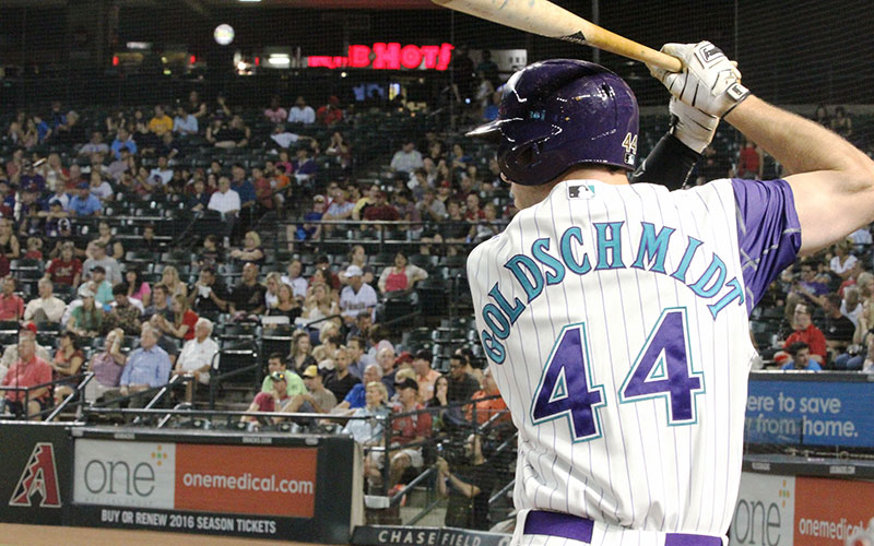 Paul Goldschmidt stands in the on-deck circle in a game against the Colorado Rockies on Thursday, Oct. 1, 2015. (Photo by Torrence Dunham/Cronkite News)