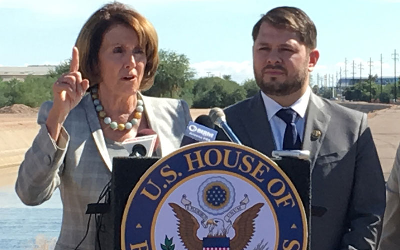 U.S. Representatives Nancy Pelosi, D-Calif., and Ruben Gallego, D-Phoenix