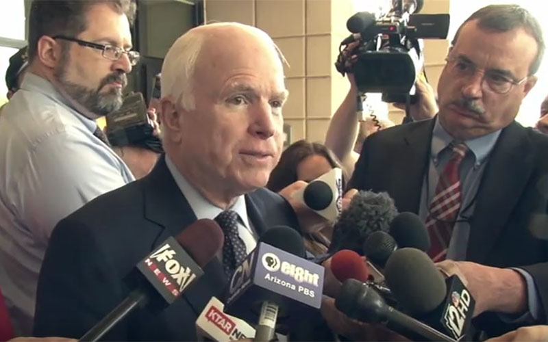 """Sen. John McCain, R-Ariz., announcing his re-election bid in April. While he has some """"vulnerabilities,"""" most experts say his challengers face a tough task. (Photo by Angie Schuster/Cronkite News)"""