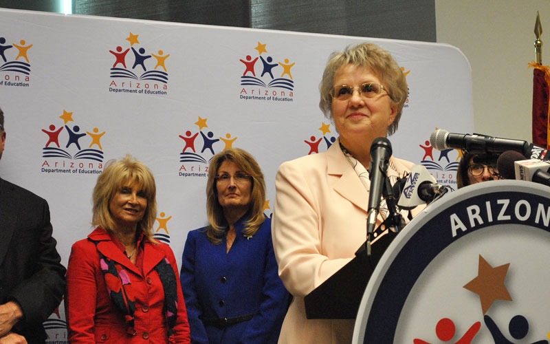 Superintendent Douglas addresses her new education plan (Photo by Erin Johnson/Cronkite News)