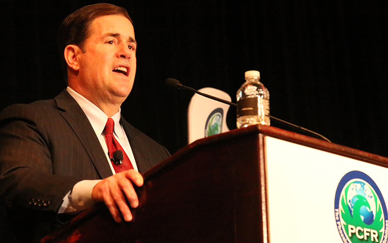 Gov. Doug Ducey said he supports the Trans-Pacific Partnership, which would eliminate some trade barriers between countries over time. (Photo by Curtis Spicer/Cronkite News)