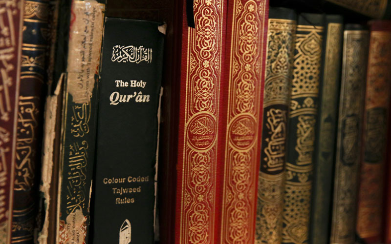 The Qur'ân sits on a bookshelf at a Mosque in Tempe. (Photo by Alicia Clark/Cronkite News)