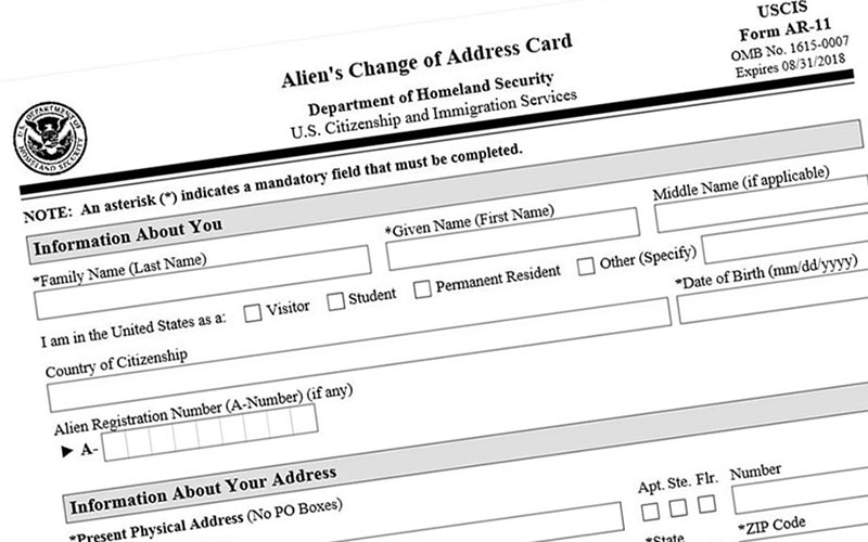 """Critics say the government's use of the word """"alien"""" in reference to foreign nationals, as on this Citizenship and Immigration Services form, is demeaning and they want the word removed from federal law. (Photo courtesy USCIS)"""