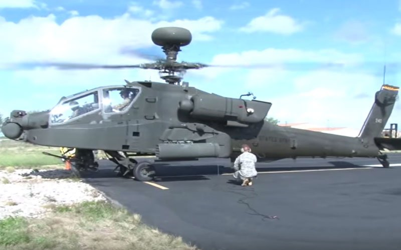 The Apache helicopter. (Photo by Audrey Weil/Cronkite News)