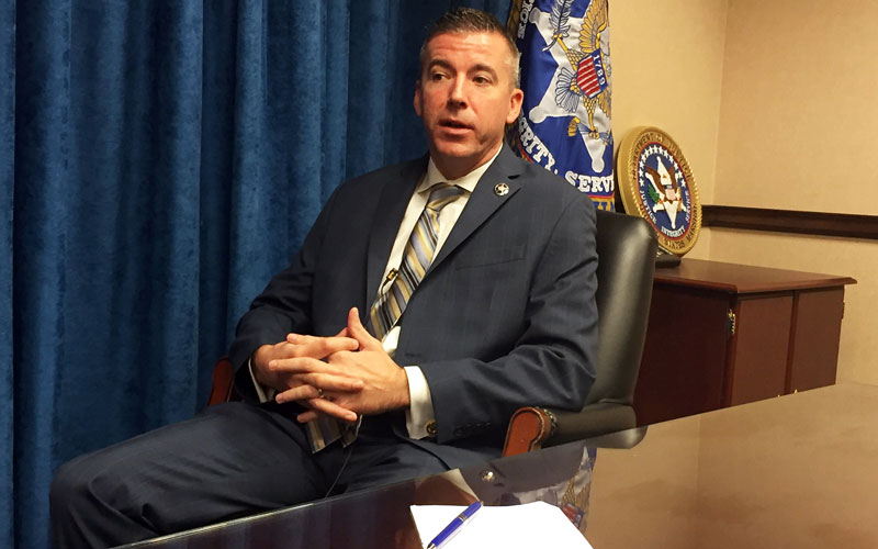 Matt Hershey, assistant chief deputy of the U.S. Marshals Service for the district of Arizona, discusses the effort to track down almost 200 unregistered sex offenders. (Photo by Becca Smouse/Cronkite News)
