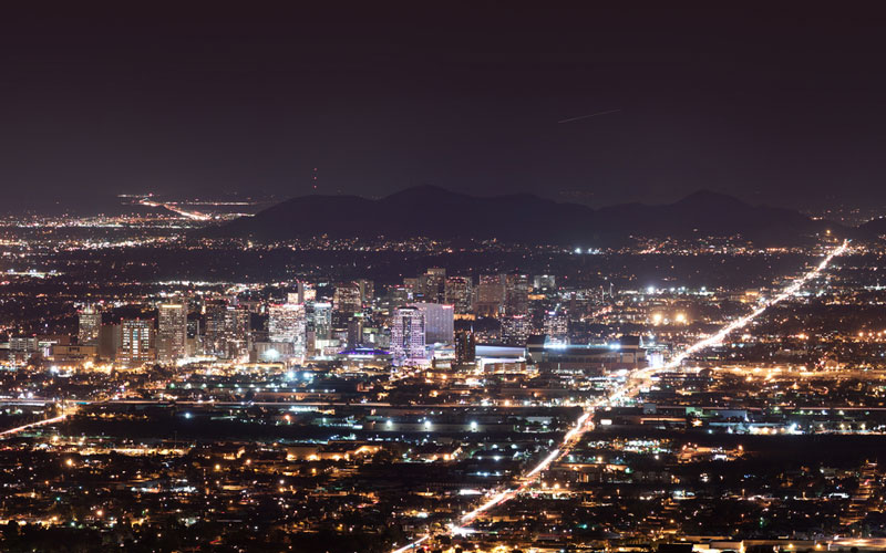 The many lights in downtown Phoenix contribute to the area's light pollution at night. (Photo by Alan Stark via Flickr/Creative Commons)