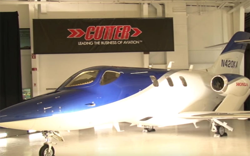 "Cutter Aviation recently unveiled the new HondaJet, which it calls the ""world's most advanced light jet."" (Photo by James Ulrich/Cronkite News)"