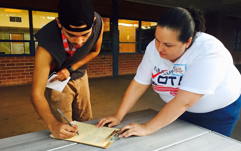 Diego Martinez Barrera (not pictured) has registered voters in the past through Mi Familia Vota, a national organization focused on expanding Latino civic participation. (Photo by Mi Familia Vota)