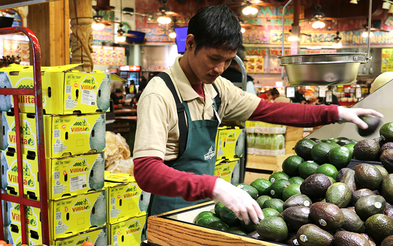 An employee at the Los Altos Ranch Market in Phoenix continues to replinish avocados as they sell out quickly due to the upcoming Super Bowl. (Photo by Kaitlyn Ahrbeck/Cronkite News)