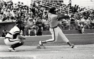 Tony Armas takes a swing in Desert Sun Stadium during its Spring Training heydays days in Yuma.(Courtesy Photo of David Simpson)