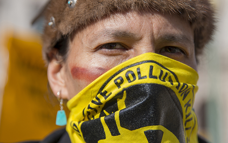 Klee Benally of Navajo Nation and Clean Up the Mines at Thursday's protest