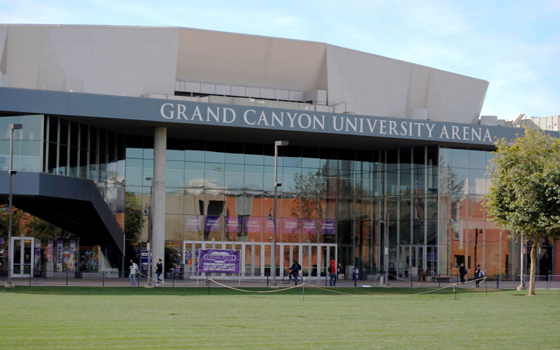Grand Canyon Univeristy Arena went under a major remodel in 2014, expanding capacity to 7,000. The arena is used for basketball games, concerts and a weekly prayer service. (Photo by Bill Slane/Cronkite News)