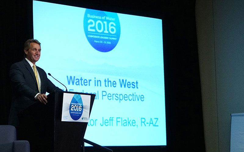 U.S. Sen. Jeff Flake, R-Arizona, speaks at the 2016 Business of Water Summit in Phoenix. In his remarks, Flake outlined his criteria for federal legislation to address the drought facing states that rely on the Colorado River for water. (Photo by Travis Arbon/Cronkite News)