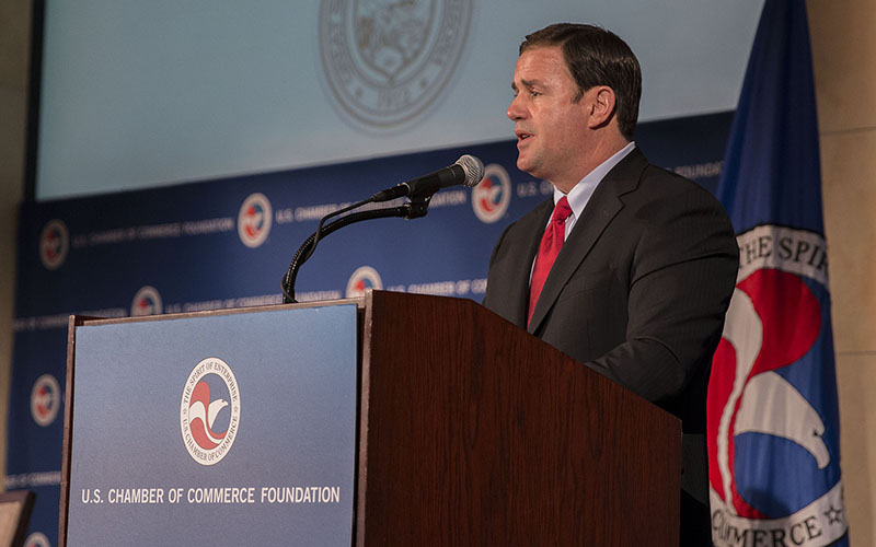 "Gov. Doug Ducey boasted about Arizona's success in closing the ""skills gap,"" during a speech to the U.S. Chamber of Commerce."