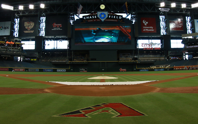 The interior of Chase Field is shown Sunday, Aug. 30 2015 in Phoenix, Arizona. Chase Field is home to the Arizona Diamondbacks. (Photo by Jacob Stanek/Cronkite News)