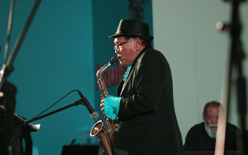 "Jacinto ""Chinto"" Mendoza performs at the 10th annual Chinto Mendoza Jazz Festival at the CEART Tijuana arts center in TIjuana, Baja California.(Photo by Cammeron Neely/Cronkite News)."
