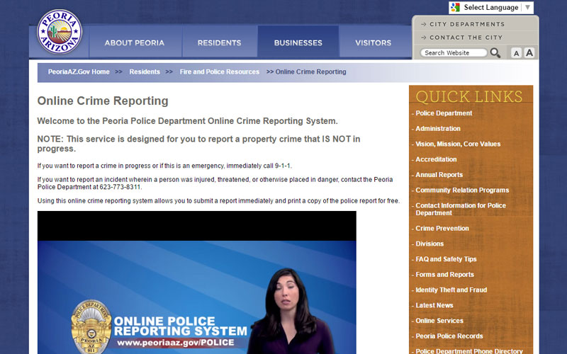 The city of Peoria offers crime reporting services through its website. (Cronkite News)
