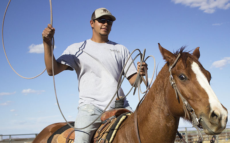 Pedro Egurrola was recruited to Central Arizona College by his roping teammate Steven Gaona. (Photo by Shelly Bolt/Cronkite News)