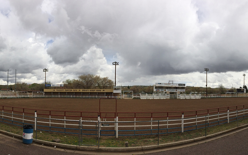 The Prescott Frontier Rodeo Days grounds fills with spectators from across the state during the annual rodeo. Like many other communities across the state, Prescott receives a influx of tourism and business thanks to its rodeo culture. (Photo by Torrence Dunham/Cronkite News)