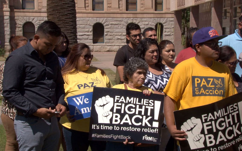 Dozens of undocumented immigrants and members of immigrant rights groups gathered at the State Capitol on Monday to share their stories about how they would be affected if DACA and DAPA are repealed. (Photo by Mauricio Casillas/Cronkite News)