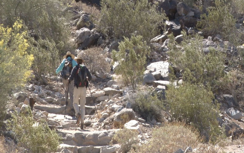 A couple hikes Telegraph Pass in South Mountain Park and Preserve. (Photo by Elena Mendoza/Cronkite News)