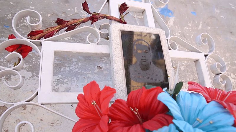 A shrine for Jose Antonio Elena Rodriguez stands next to the area where he was shot and killed by a Border Patrol agent more than three years ago in Nogales, Sonora, on March 28, 2016. (Video by Courtney Pedroza/Special for Cronkite News)