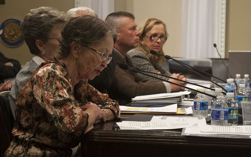 Sue Chilton of Arivaca, front, and Nan Stockholm Walden of Sahuarita, far right, were among the handful of border residents invited to testify on the problems of living near the border.